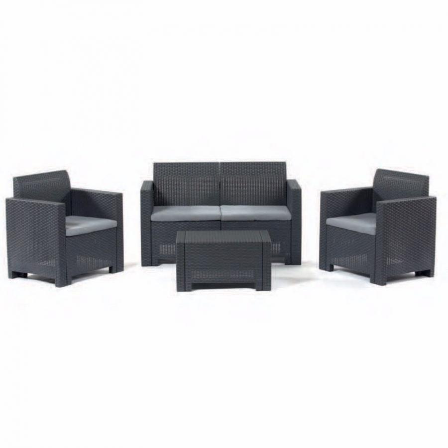 Tavolino Rattan Da Giardino.Set Sofa Composto Da Divanetto 2 Posti 2 Poltroncine E Tavolino